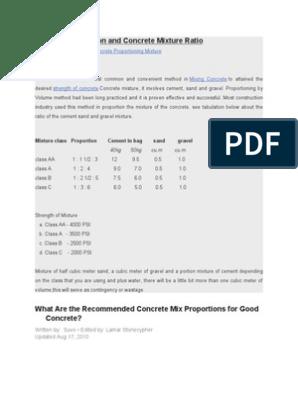 Concrete Proportion and Concrete Mixture Ratio   Concrete