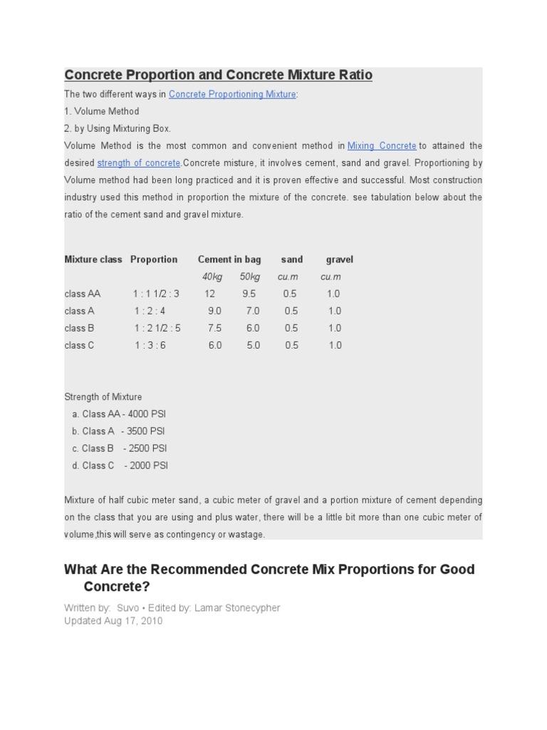 Concrete Mix Ratio For Patio Slabs: Concrete Proportion And Concrete Mixture Ratio
