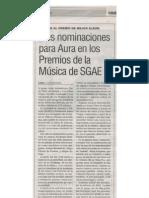 Aura candidato en los premios de la Música de la SGAE. 18 de diciembre de 2009. Diario Lanza