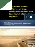 Modèles d'Affaires Entre Gestion Et Cognition