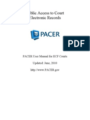PACER User Manual | Cm/Ecf | Collection Agency