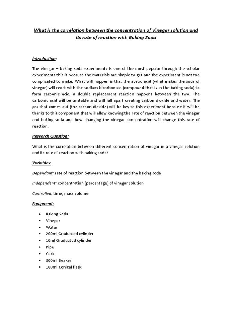 science rate of reaction vinegar baking soda vinegar sodium bicarbonate. Black Bedroom Furniture Sets. Home Design Ideas
