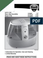 Vicks V790 Germ-Free Humidifier User Manual
