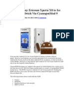 Upgrade Sony Ericsson Xperia X8 to Ice Cream Sandwich via CyanogenMod 9