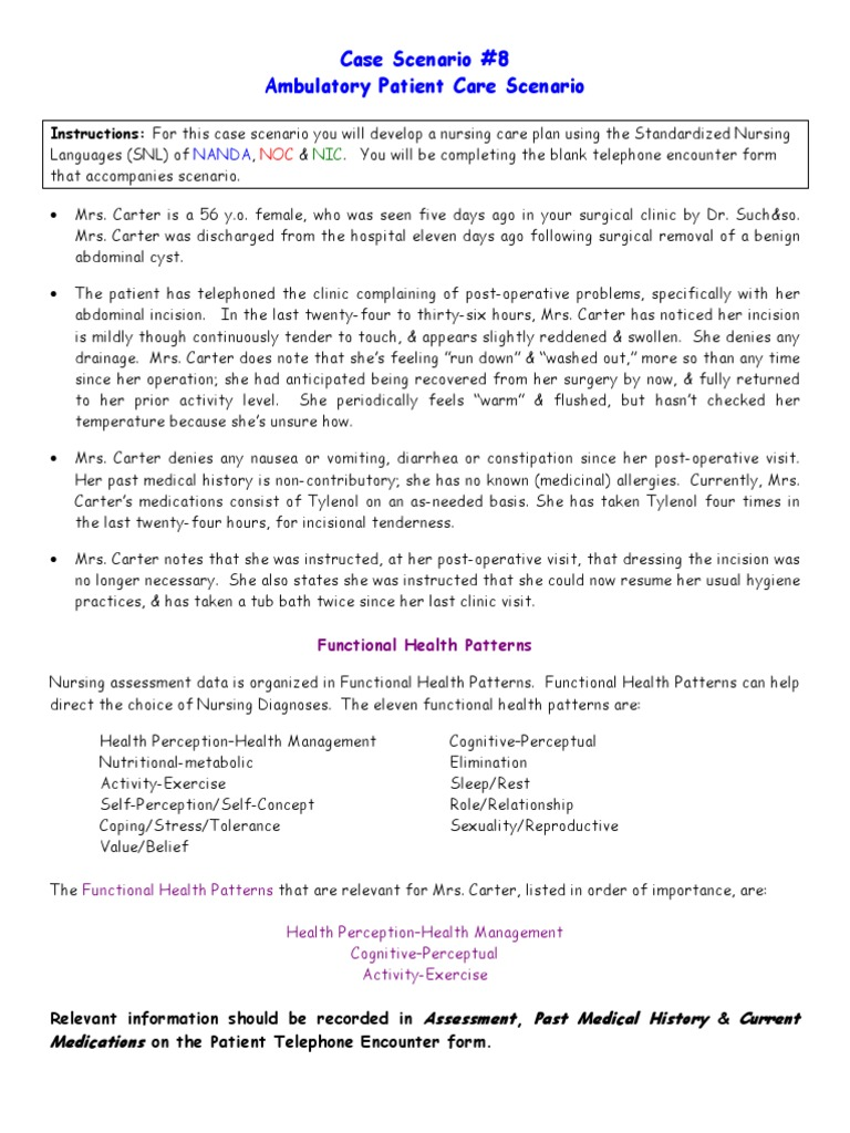 nursing case scenario The case study method of teaching applied to college science teaching, from the national center for case study teaching in a nursing student, and her coworker.