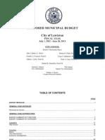 City of Lewiston 2013 Proposed Municipal Budget Summary