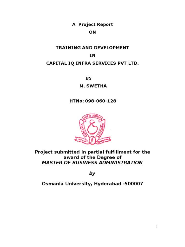 Training and Development Capital Iq(1) | Employment | Apprenticeship
