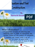 Evaluation and Test Construction