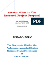 Presentation on the Research Project Proposal - October 02, 2011 - Final
