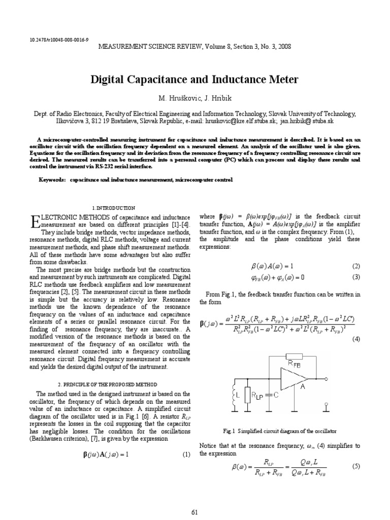 Digital Capacitance Inductance Meter Hruskovic Electronic Type Multimeter Principle Circuit Basiccircuit Oscillator Capacitor