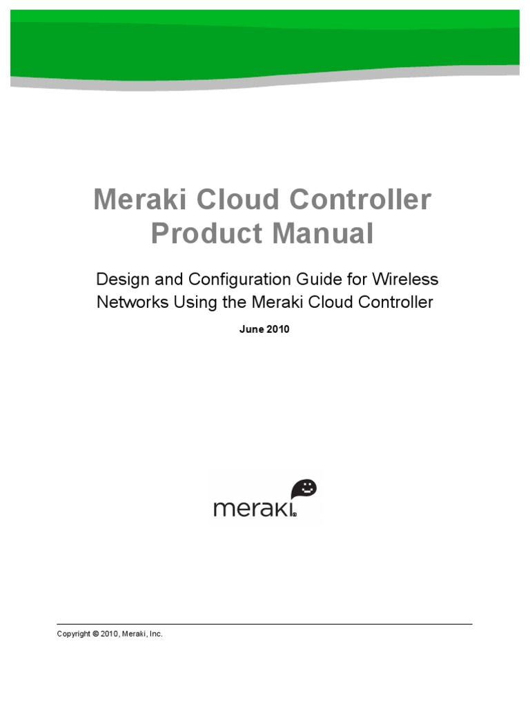 Meraki Product Manual Cloud Controller | Wireless Lan