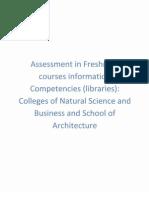Appendix 21 Assessment in Freshmen Courses Info Competencies Libraries