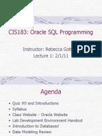 CIS183 Oracle SQL Programming