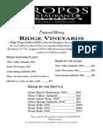 Piropos - Wine List