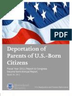 ICE - Deport of Parents of US Cit FY 2011 2nd Half
