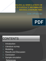 Modeling & Simulation of Direct Contact Membrane Dcmd