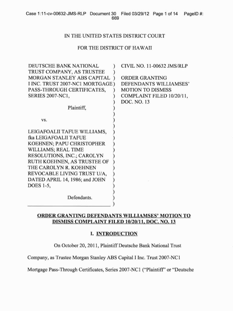 Hawaii - Deuche Bank v  williamses-order - MTD Granted