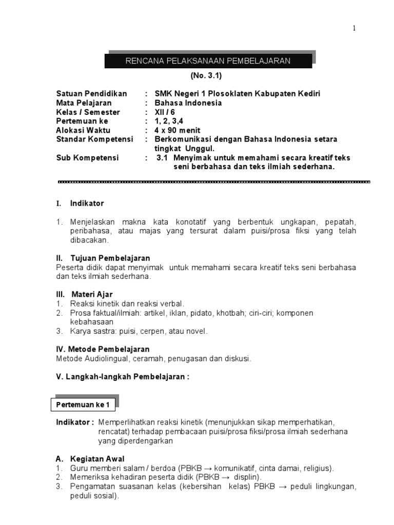 RPP BERKARAKTER BAHASA INDONESIA SMK KELAS XII