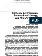 007 Corporate Level Strategy, Business Level Strategy and Firm Performance