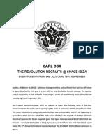 Carl Cox the Revolution Recruits PRESS RELEASE 30032012