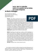 Paloma Martínez Matías - Hablar en silencio, decir lo indecible. Una aproximación a la cuestión de los límites del lenguaje en la obra temprana de Martin Heidegger.