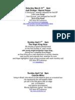 Showroom Schedule March 31st , 2012