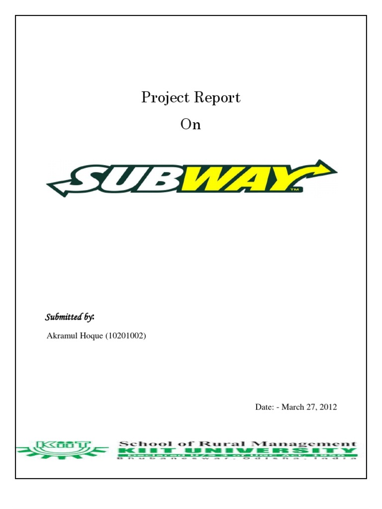 subway marketing report Quick-service sandwich market in the us subway has a robust social community with more than 25 million facebook fans.