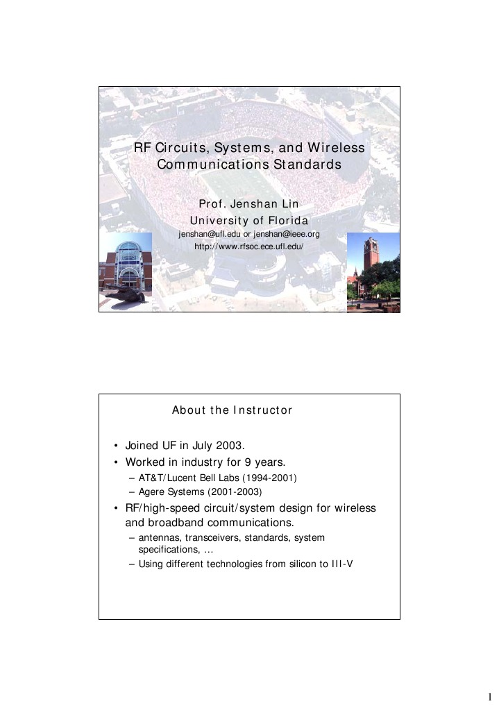 RF Circuits, Systems, And Wireless Communications Standards