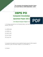 IBPS PO Computer Paper 2011