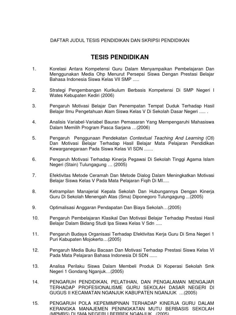 Contoh Judul Skripsi Manajemen Strategi - Tonny Toro