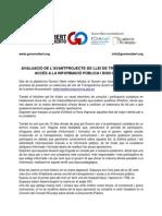 AVALUACIÓ DE L'AVANTPROJECTE DE LLEI DE TRANSPARÈNCIA, ACCÉS A LA INFORMACIÓ PÚBLICA I BON GOVERN