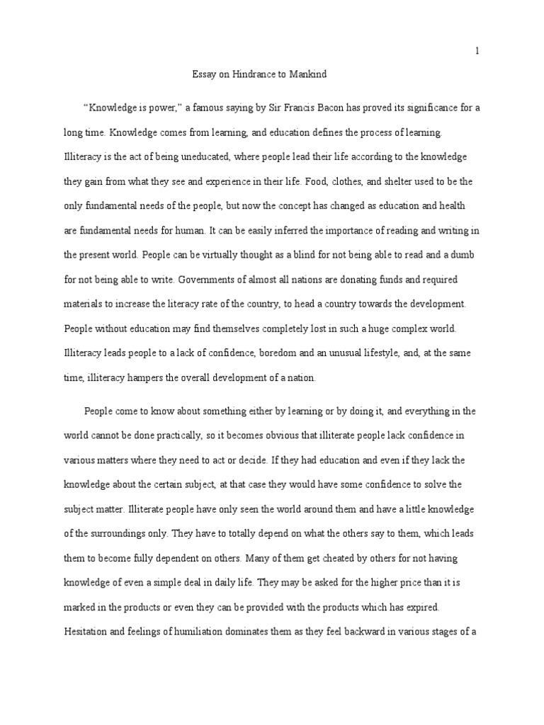 simple essay on illiteracy  sample essay on illiteracy