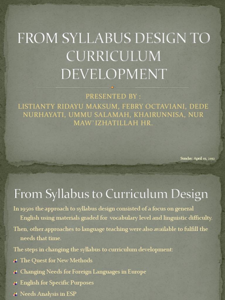 syllabus design and curriculum development