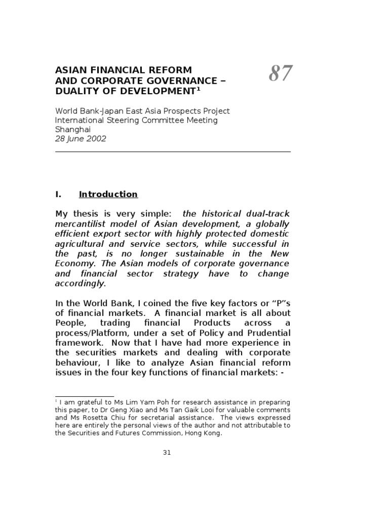 Chapter 87 - 90   Financial Markets   Corporate Governance