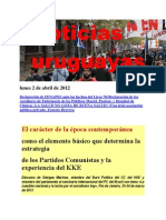 Noticias Uruguayas Lunes 2 de Abril de 2012