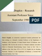 Robert Drapkin – Research Assistant Professor Since September 1980