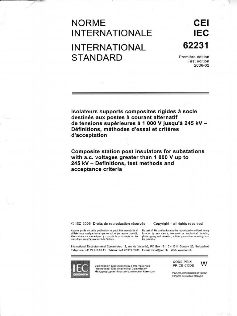 CEI IEC 62231 Edition 1 0 (2006-02) | Insulator (Electricity