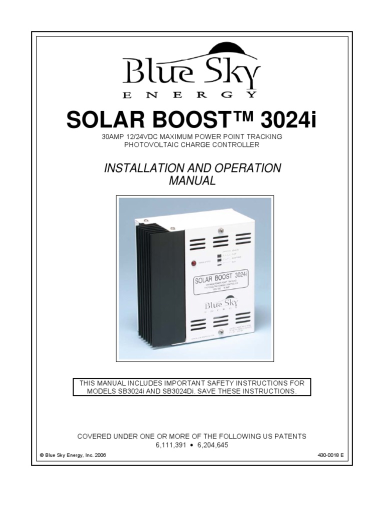 Manual Bse Sb3024i Battery Electricity Charger Programmable Maximum Power Point Tracking Controller For Photovoltaic