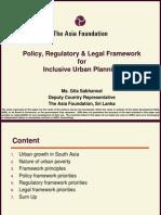 Sri Lanka Policy, Regulatory & Legal Framework or Inclusive Urban Planning