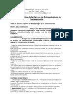 Plan de Estudios de la Carrera de Antropología de la Comunicación