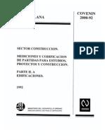 2000-1992 Mediciones y Codificacion de Partidas Para Estudios, Proyectos y Construccion Parte IIA Edificaciones
