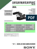 Sony Hvr-A1j,A1u,A1n,A1e,A1p,A1c Service Manual Ver 1.3 2007.03 (9-876-892-11)