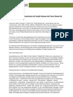 Oracle Mining unterzeichnet mit Credit Suisse AG Term Sheet für bis zu 70 Mio. US$
