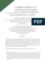 RICHTER, Ana Cristina; VAZ, Alexandre  Fernandez. Corpos,  saberes  e  infância  uminventário  para  estudos  sobre  a  educação  do  corpo  em  ambientes  educacionais  de  0  a  6  anos.