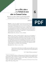 Entre o Dizer e o Dito Sobre a Precariedade e a Finitude de Nossos Saber Em Emmanuel Levinas