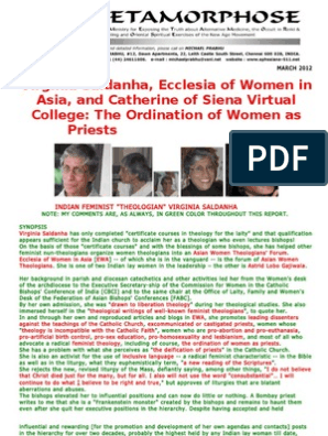 Virginia Saldanha Ecclesia Of Women In Asia And Catherine Of