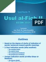Lecture 3 Usul Al-Fiqh II
