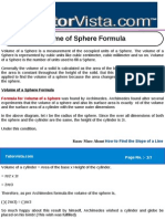 Volume of Sphere Formula