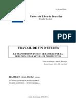 TFE, Le nom de famille en Belgique (notamment comparaison avec le droit français)