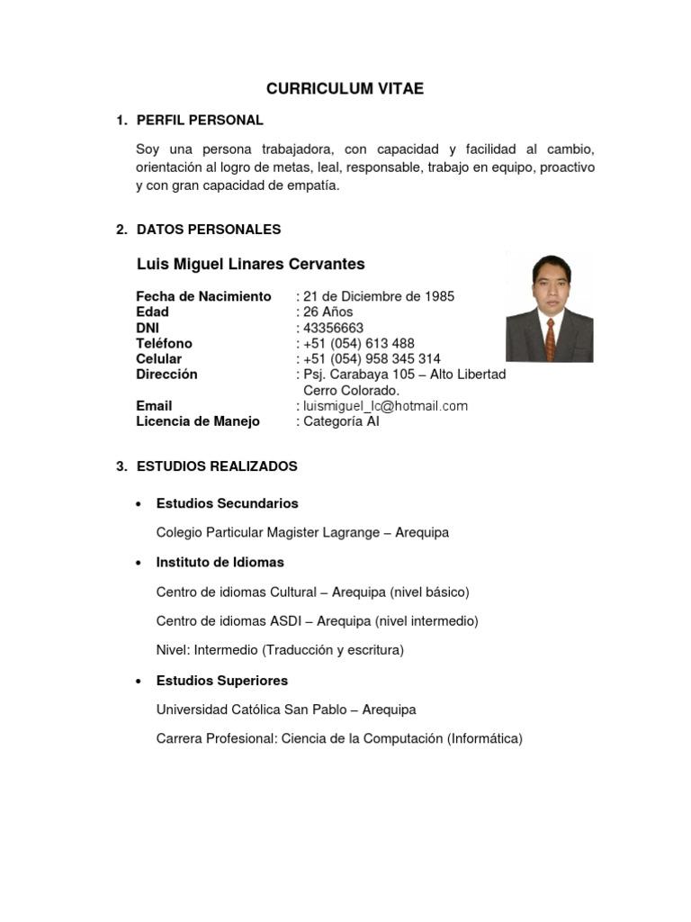 Curriculum Vitae - Luis Miguel Linares Cervantes